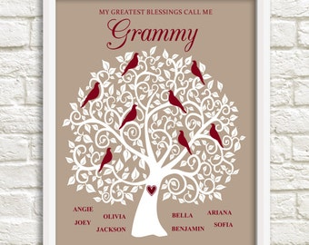 Gift for Grammy, Personalized Family Tree for Grammy, Christmas Gift for Grammy, Grammy Family Tree, Custom Family Tree, Custom Wall Art