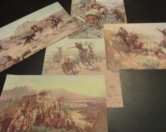 Charles Marion Russell Print Set of Five, Western Cowboy Prints, Prairie Wild West Art, Barn Decor, CM Russel Art Prints