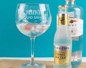 Personalised Gin Liquid Sanity Copa Balloon Glass, Goblet, Gin Gift