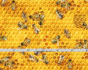 Honeybee Fabric, Elizabeths Studio 510 Honey, Bee Quilt Fabric, Honeycomb, Honey Fabric, Cotton