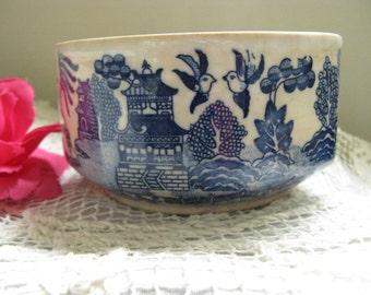 Vintage Ceramic Blue Willow Bowl by Moriyama Made in Japan~~Rare Moriyama Deep Bowl~~Heavy Ceramic Bowl