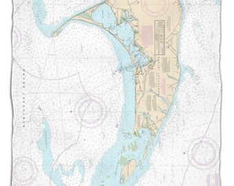 MA: Nantucket, MA Nautical Chart Fleece Throw Blanket, Map Blanket