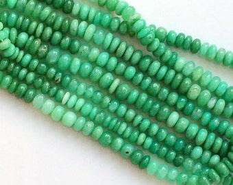 Chrysoprase Plain Rondelles, Shaded Green Chrysoprase Beads, Chrysoprase Necklace, Chrysophase Rondelle 10-11mm, 8 Inch Strand