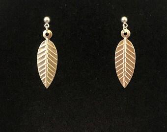 Silver Tone Leaf Dangle Pierced Earrings New