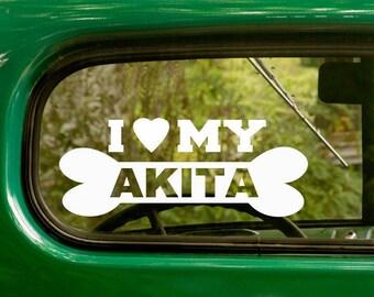 I Love My Akita Decal, 2 Decals, Dog Decal, Akita Sticker, Dog Sticker, Dog Bone, Car Decal, Laptop Sticker, Vinyl Decal