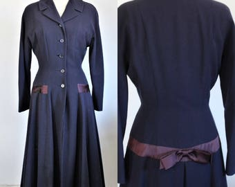 Vintage 1940s Blue Princess Coat With Large Bow In Back / Navy Blue / D.J. Healy Detroit / Burgundy Lining / Purple Satin  / Swing Coat