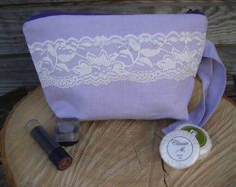 Light lilac Linen and White Lace Make Up Bag, Zipper Pouch, Cosmetic bag, Handmade, White Lace, Women, Organize