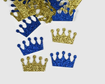 Glitter Crown Confetti - 100 Pieces - Gold and Royal Blue - Princess Party Decor - Prince 1st Birthday Table Scatter - First Birthday