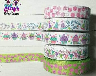 7/8'' Grosgrain Ribbon Birthday Girl Collection US Designer Ribbon,  Cupcake Ribbon, Polka Ribbon, Glitter Ribbon