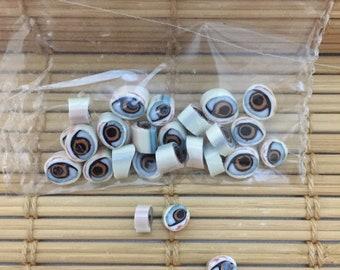 3D Murrini brown eyes set/ handmade/ murrini/ millefiore/ glass/ lampwork/ effetre