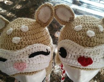 Doe, Deer Crocheted Flap Hats