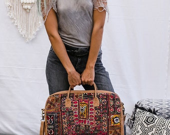 Embroidery Laptop Messenger Bag, Laptop Handbag, Laptop Shoulder Bag, Leather Laptop Bag, Bohemian Tribal Messenger Bag