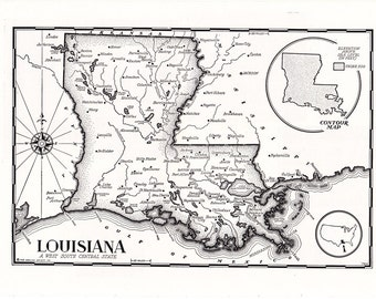 map of Louisiana from the 1950's, black and white home decor, unique gift.