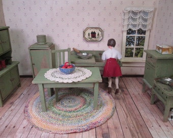 """German Dollhouse Furniture - 6 Piece Kitchen - Cabinet, Table, Chair, Refrigerator, Stove and Sink -  1"""" Scale"""