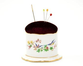 Pincushion 'Bird' vintage Royal Bayreuth porcelain repurposed