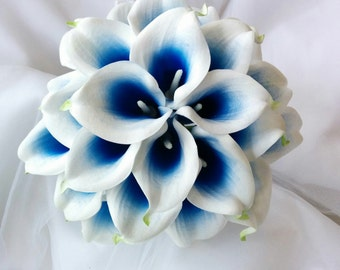Silk wedding bouquet Natural Touch Royal Blue Picasso Calla Lilies Bridal Wedding Bouquet