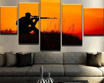 Sniper Canvas Set | American Flag decor |  American Flag print | army gifts | veterans gift | military gifts | gift for him
