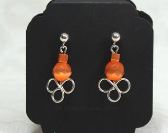 Orange Dangle on Ball Post Earring