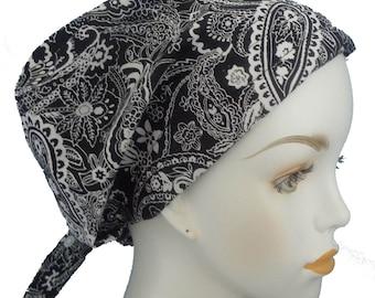 English Traditions Chemo Scarves Black Paisley Chemo Cancer Hair Loss Scarf Turban Hat