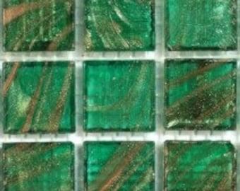 On SALE Emerald Green Gold Semi Translucent Glass Mosaic Tiles//Mosaic Supplies//Crafts//Mosaic