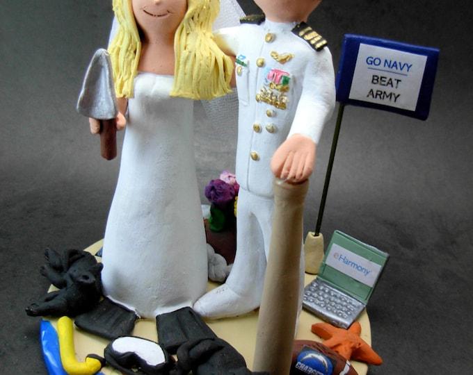 Navy Officer Wedding Cake Topper, Dress White Army Uniform Wedding Anniversary Gift/Cake Topper, Military Wedding Anniversary Cake Topper,