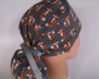 Grey Fox Ponytail - Womens lined surgical scrub cap, scrub hat, Nurse surgical hat, 154-630 W