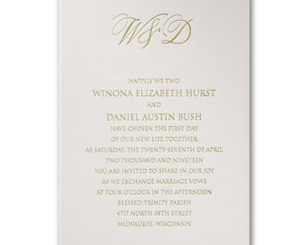 Pure Luxe Foil Stamped Wedding Invitation *SAMPLE*