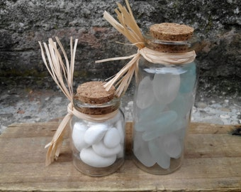 MERMAID's Tear Glass - Decorationn 1 Small Bottlee With Sea Glass with Genuine Natural Amalfi Coast Sea Glass