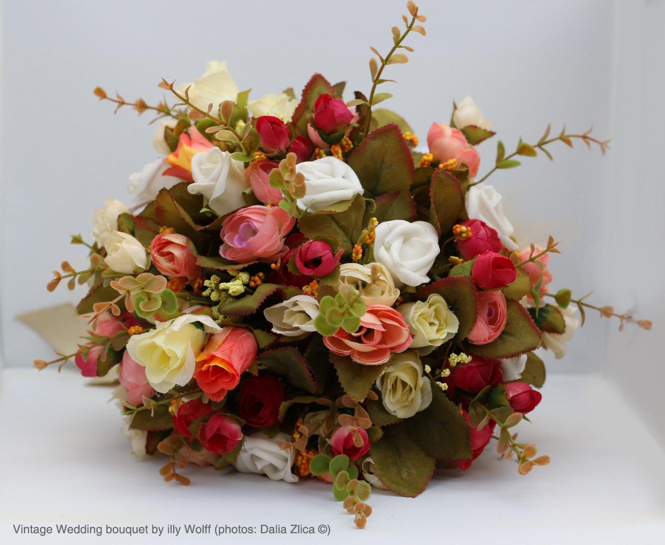 Bridal bouquet silk flowers bouquet wedding bouquet brooch zoom izmirmasajfo