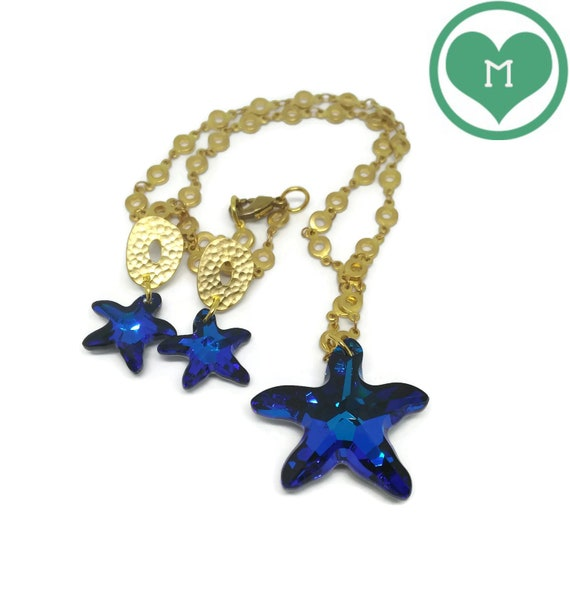 Necklace and Earrings Set, Starfish, Swarovski Crystal, Golden Necklace, Blue Star, Golden Earrings