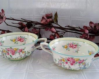 Royal Worcester ''June'' Bouillon/Cream Soup Bowls, Set of Two (2)