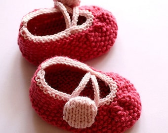 Knitting Pattern (PDF file) Rosy Baby Booties (0-6/6-12 months)