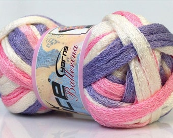 For white, purple and Pink Ruffle scarf yarn