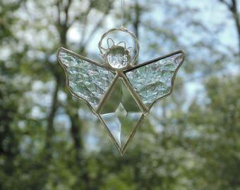 Car angel hanger, guardian angel, rear view mirror, hanging angel mirror charm, stained glass angel suncatcher