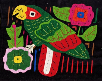 Vintage San Blas Kuna Indian Mola of Tropical Parrot Bird - Vintage Kuna Textile Design of colorful Parrot Bird with Flowers