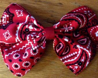 Red bandana bow, red bow, cotton bow, custom bow, girls hairbow, toddler headband, girls hairclip, baby headband, toddler bow, bandana bow