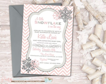 Snowflake Baby Shower Invitation, Winter Baby Shower Invitation, Chevron Baby Shower Invitation, Snowflake Invitation, Pink and Silver