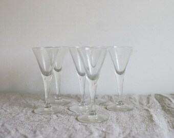Vintage Glass Cordial Cups, Set of 6 Fluted Clear Stemware