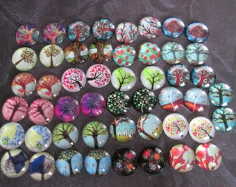50 20 mm tree of life pattern round glass cabochons