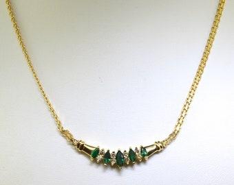 Women's 14k Diamond And Emerald Necklace