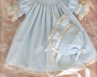 READY to SHIP Matching Bonnet and Dress Blush Hand Smocked Heirloom Dress and Girl Vintage  Size NB to 5 Matching Dress and Bonnet