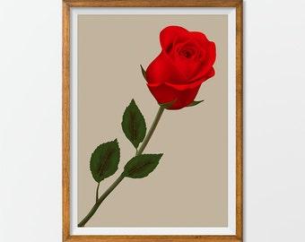 Printable Floral Art, Rose Print Rose Art - Rose printable, Floral Printable, Floral Art Print Wall Art