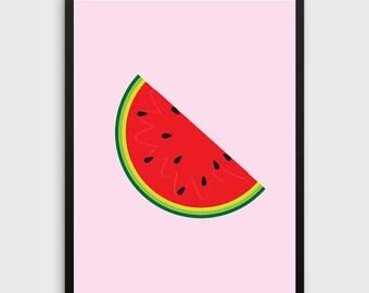 Watermelon Print | Watermelon Art, Watermelon Illustration, Watermelon, Summer Print, Summer Art, Wall Art, Wall Print, Printable