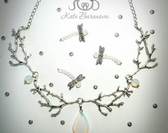 Silver Branches Moonstone Necklace Woodland necklace Eleven jewelry Fantasy necklace antler necklace Nature Jewelry Twig Jewelry