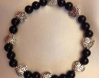 Genuine Black Onyx Stretch Bracelet with Scroll DesignTibetan Silver Heart Beads - One of a Kind!