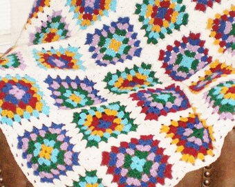 "NEW Homemade/Handcrafted  Crochet Granny Square afghan 50X59""(Some Roseanne style)"