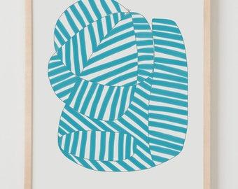 Fine Art Print.  Stripe Study Turquoise, August 14, 2017.