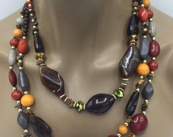 Multi Strand Beaded Necklace - Multistrand Necklace - 3 Layer Beaded Necklace - Beaded Bib Necklace