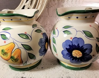 Gibson Housewares fruit and floral pitcher