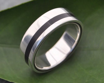 Size 10, 7mm READY TO SHIP Equinox Ebony Wood Ring with Recycled Silver - wood wedding ring, women's wood ring